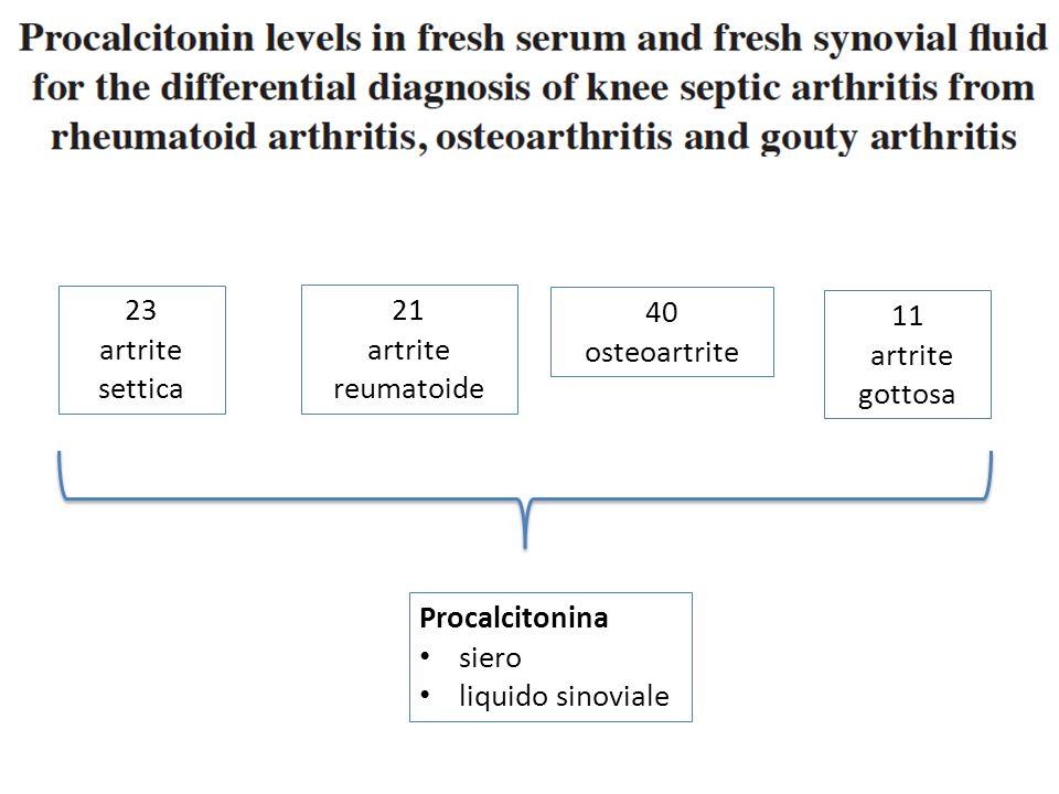 23 artrite. settica. 21. artrite reumatoide. 40. osteoartrite. 11. artrite. gottosa. Procalcitonina.