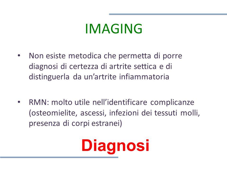 IMAGING Non esiste metodica che permetta di porre diagnosi di certezza di artrite settica e di distinguerla da un'artrite infiammatoria.