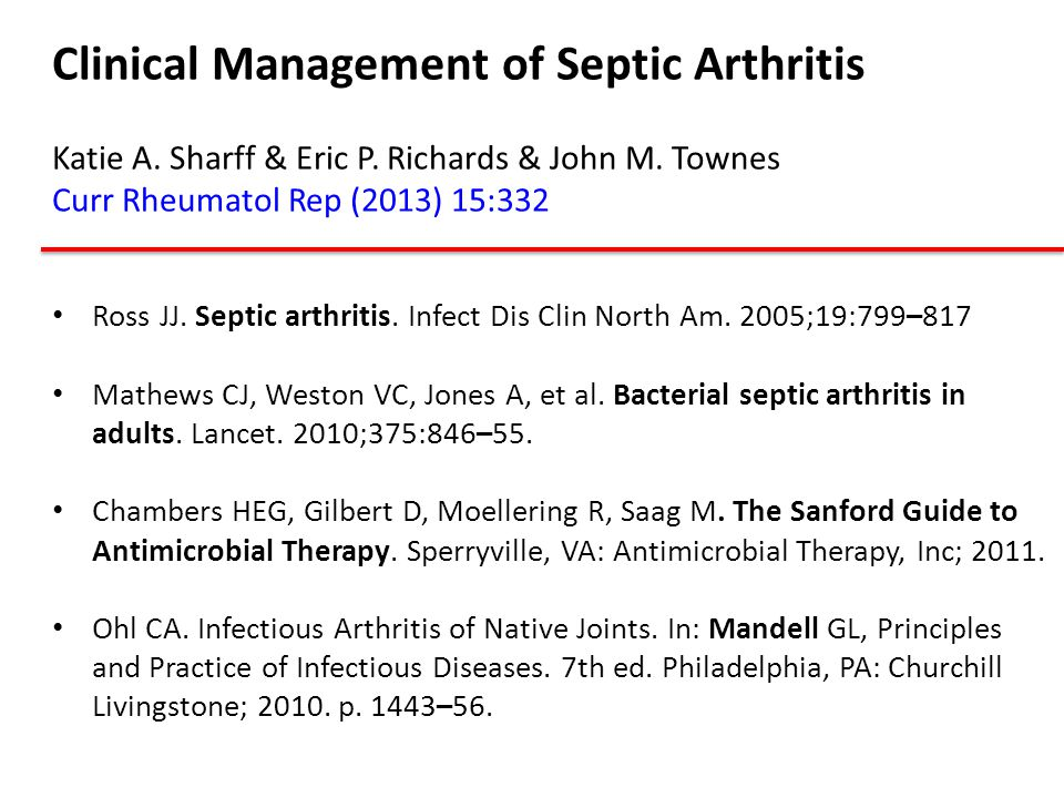 Clinical Management of Septic Arthritis