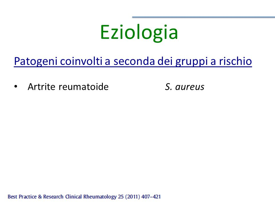 Eziologia Patogeni coinvolti a seconda dei gruppi a rischio