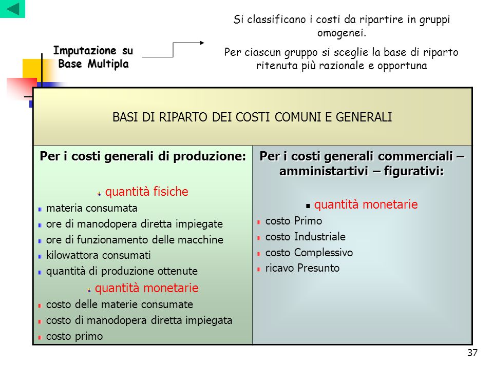 BASI DI RIPARTO DEI COSTI COMUNI E GENERALI