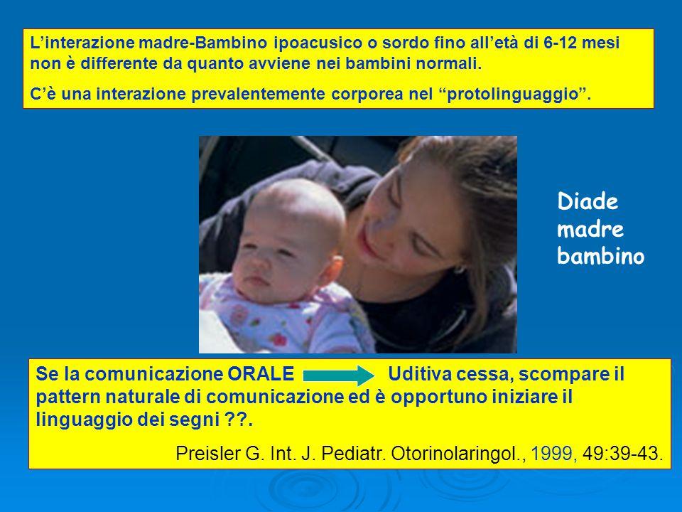 L'interazione madre-Bambino ipoacusico o sordo fino all'età di 6-12 mesi non è differente da quanto avviene nei bambini normali.