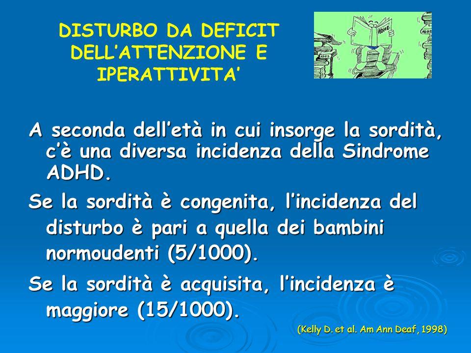 DISTURBO DA DEFICIT DELL'ATTENZIONE E IPERATTIVITA'