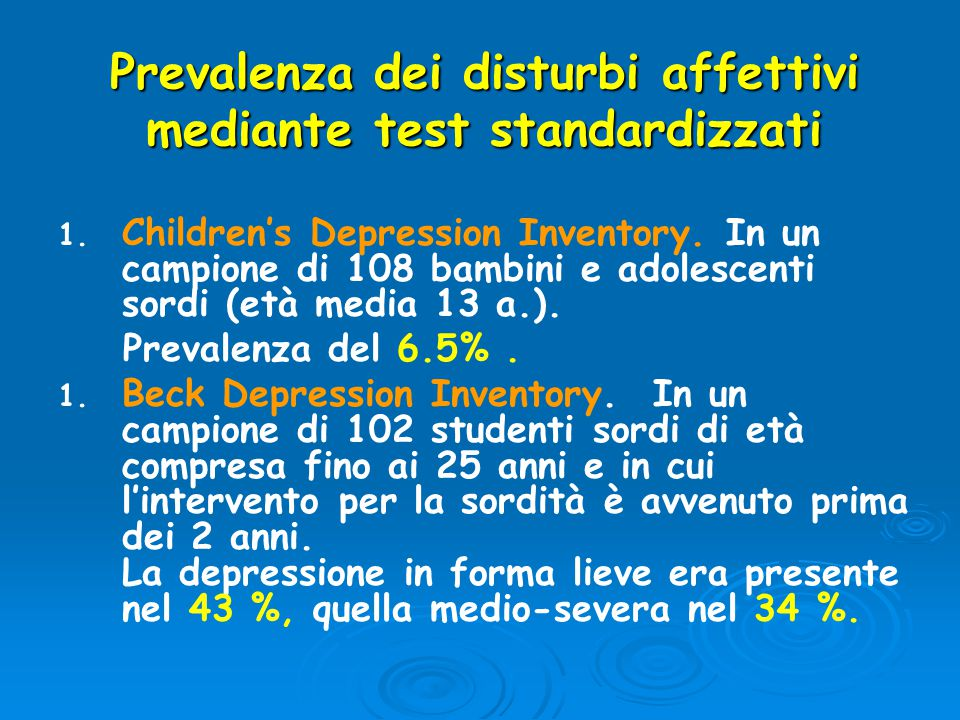 Prevalenza dei disturbi affettivi mediante test standardizzati
