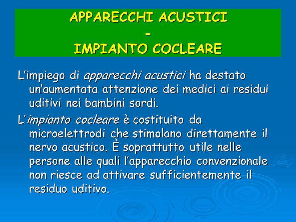 APPARECCHI ACUSTICI - IMPIANTO COCLEARE