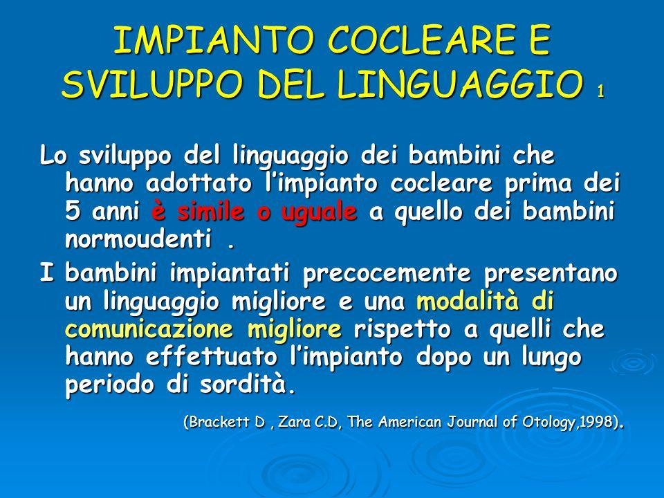 IMPIANTO COCLEARE E SVILUPPO DEL LINGUAGGIO 1