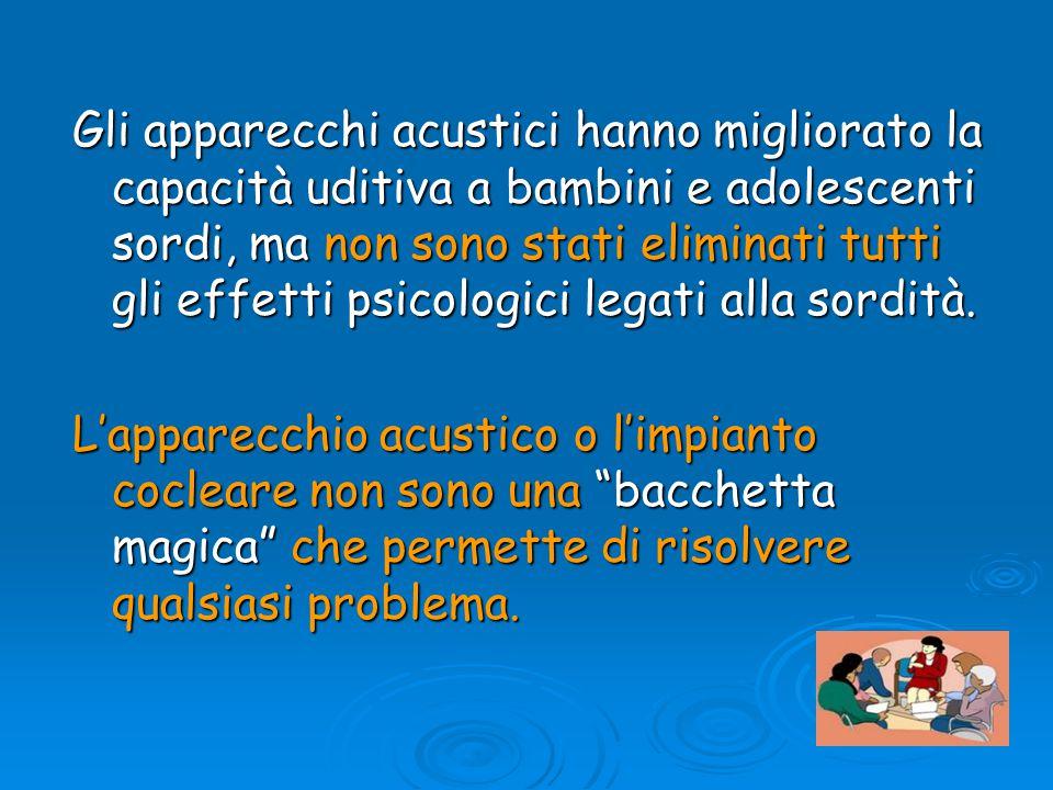 Gli apparecchi acustici hanno migliorato la capacità uditiva a bambini e adolescenti sordi, ma non sono stati eliminati tutti gli effetti psicologici legati alla sordità.