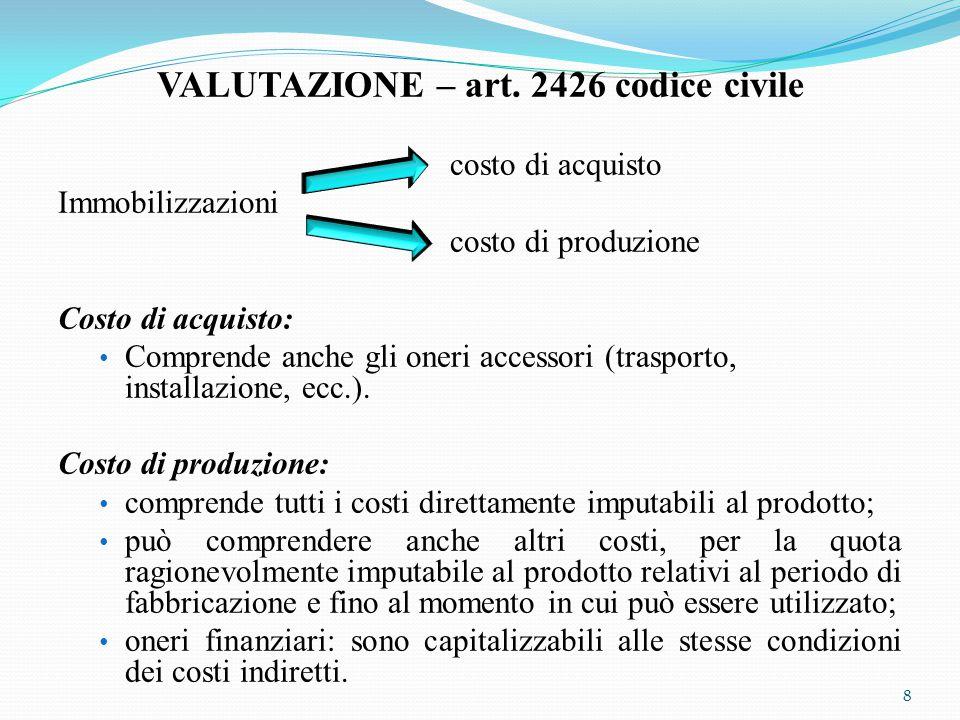 VALUTAZIONE – art. 2426 codice civile