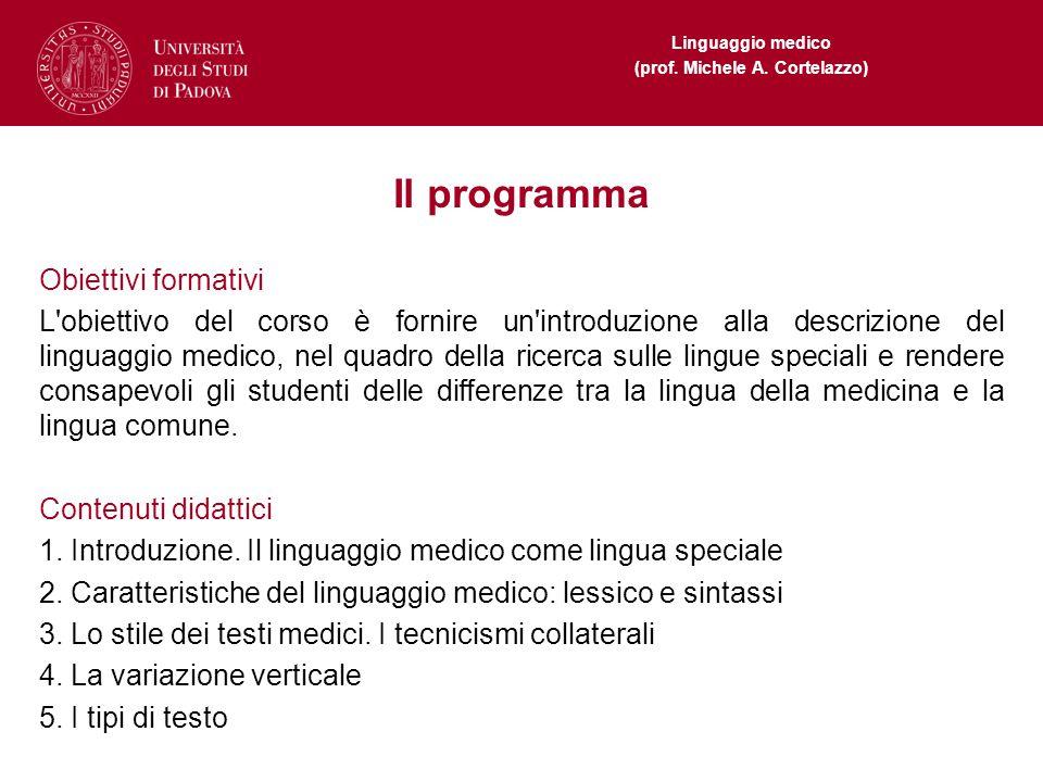 Il programma Obiettivi formativi