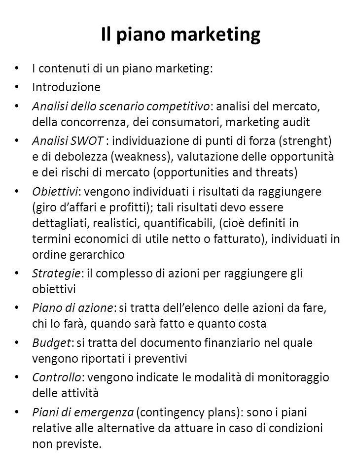 Il piano marketing I contenuti di un piano marketing: Introduzione