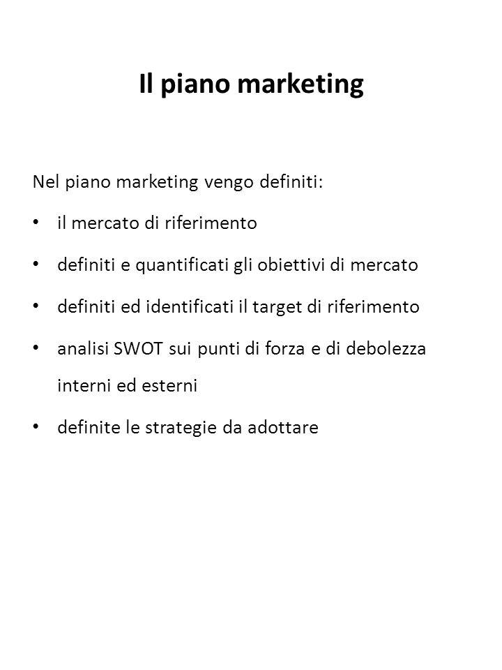 Il piano marketing Nel piano marketing vengo definiti: