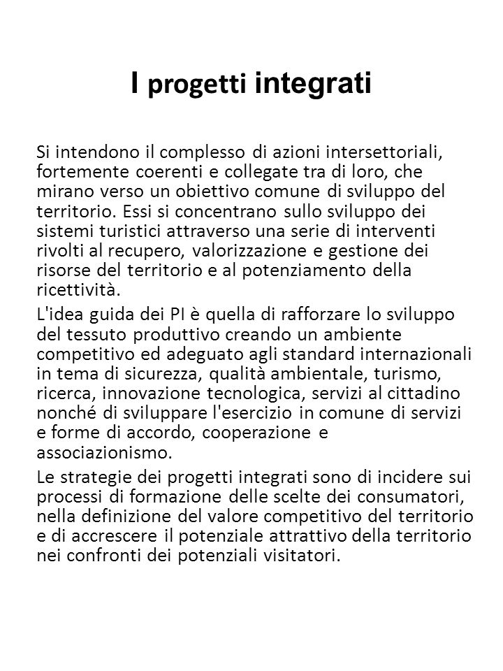 I progetti integrati