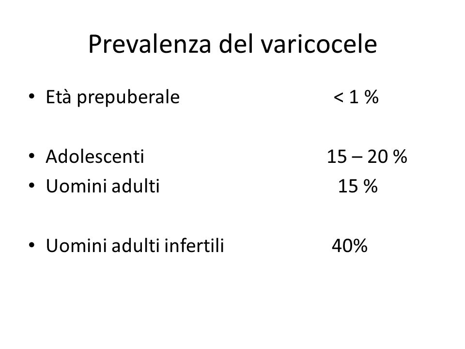 Prevalenza del varicocele
