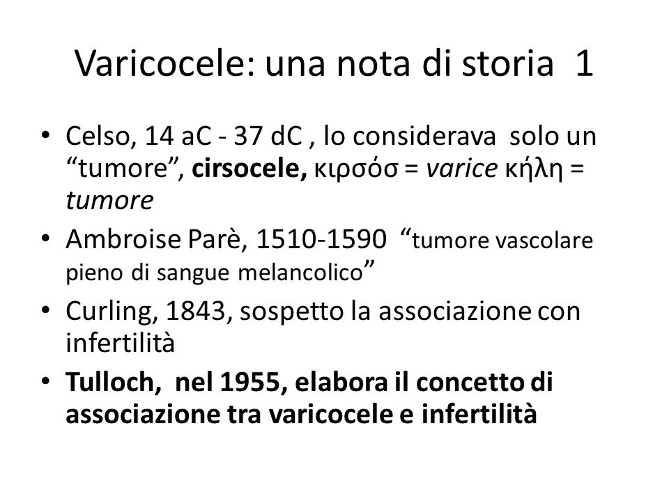 Varicocele: una nota di storia 1