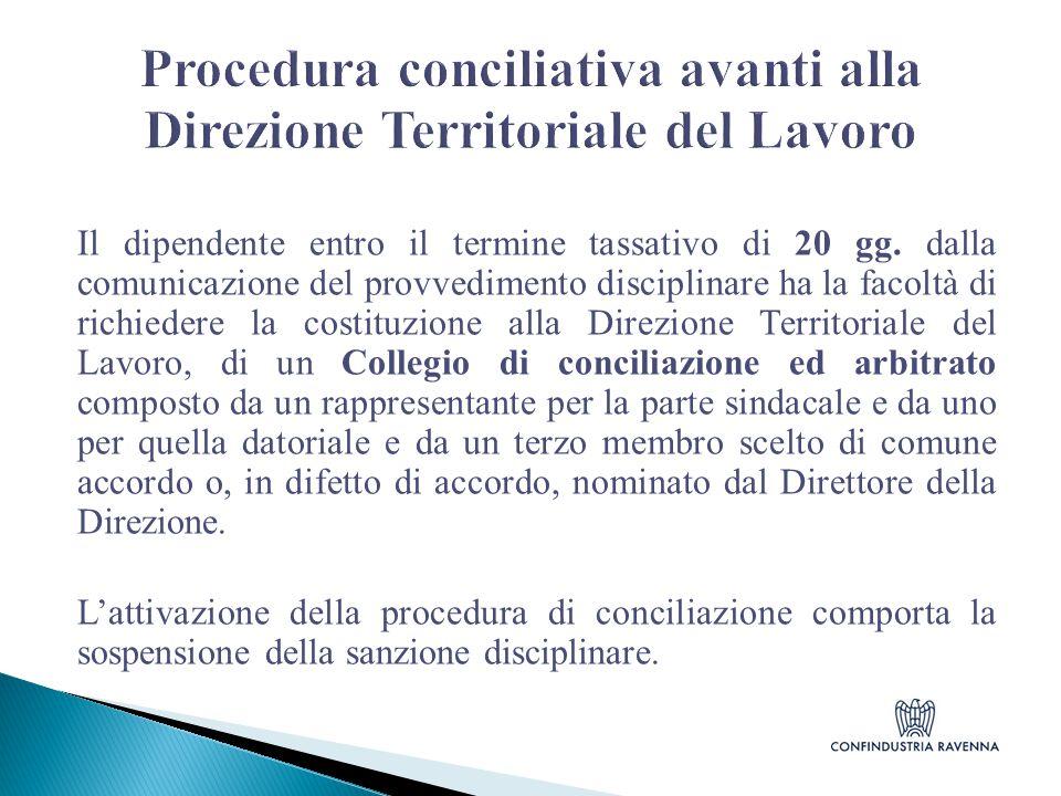Procedura conciliativa avanti alla Direzione Territoriale del Lavoro