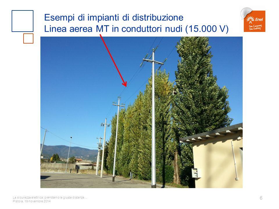 Esempi di impianti di distribuzione Linea aerea MT in conduttori nudi (15.000 V)