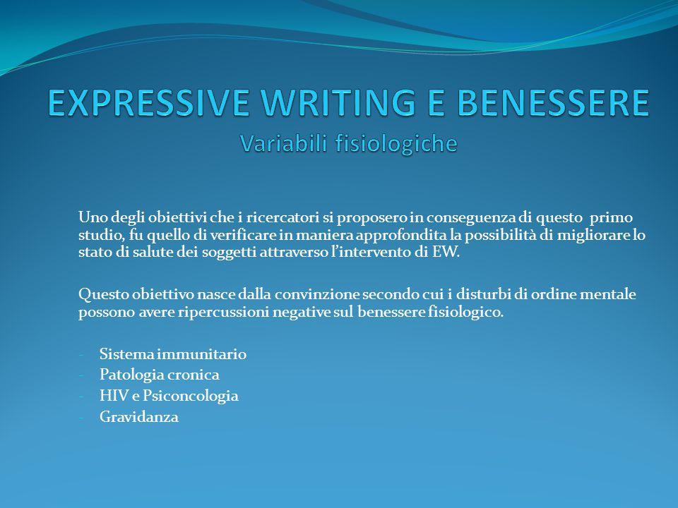 EXPRESSIVE WRITING E BENESSERE Variabili fisiologiche