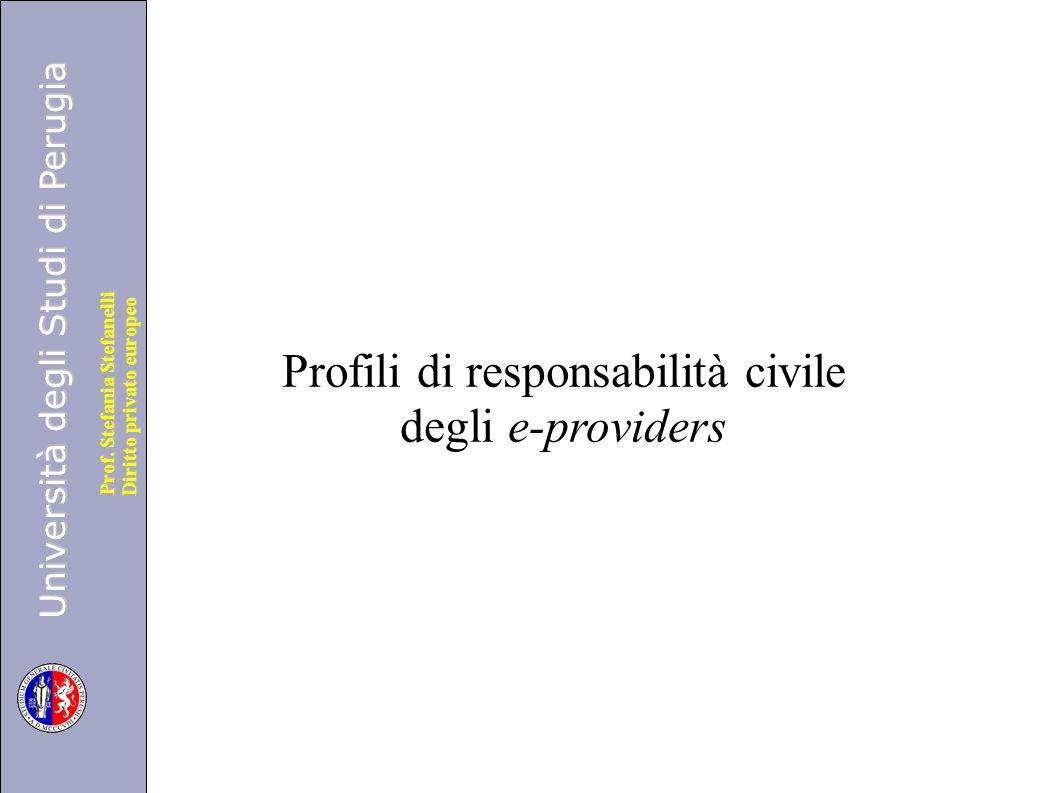 Profili di responsabilità civile degli e-providers