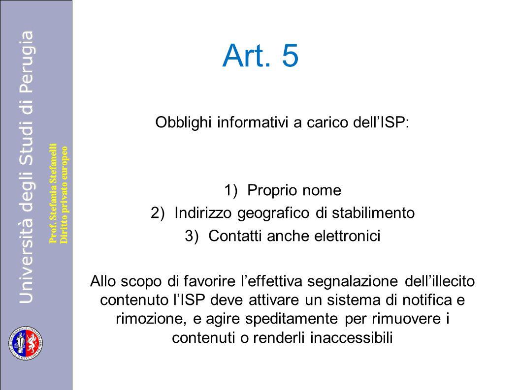 Art. 5 Obblighi informativi a carico dell'ISP: Proprio nome