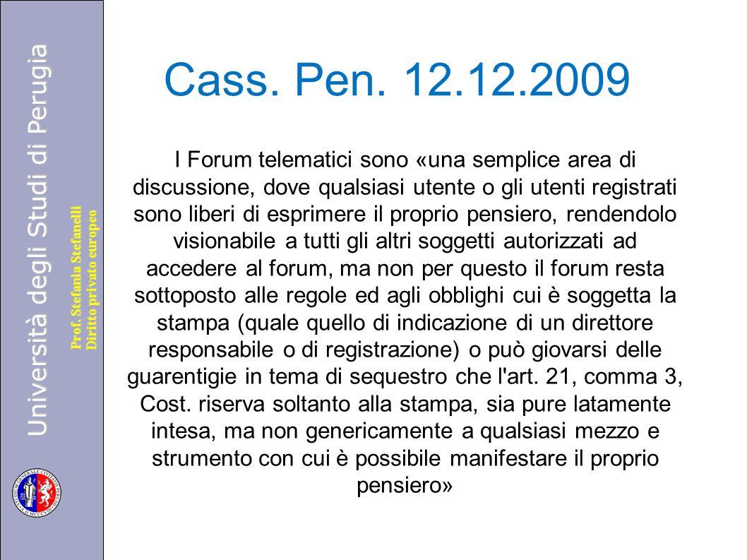Cass. Pen. 12.12.2009