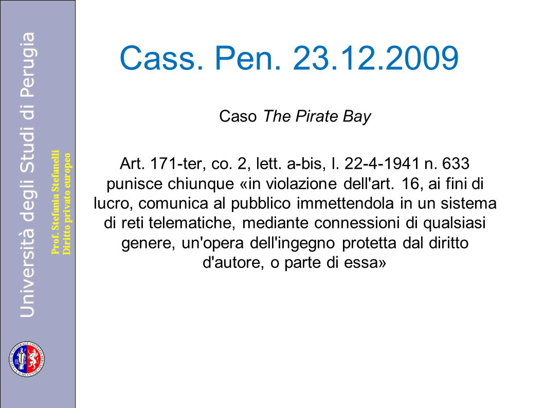 Cass. Pen. 23.12.2009