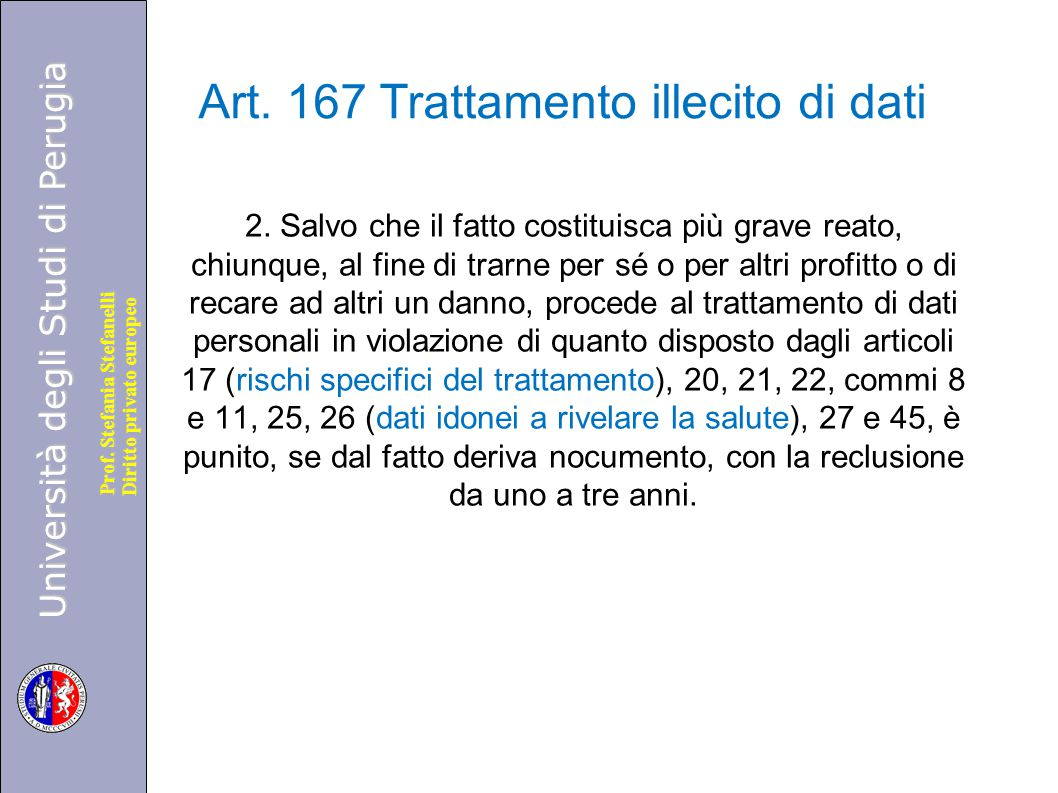 Art. 167 Trattamento illecito di dati
