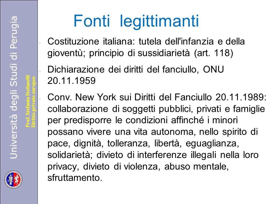 Fonti legittimanti Costituzione italiana: tutela dell infanzia e della gioventù; principio di sussidiarietà (art. 118)