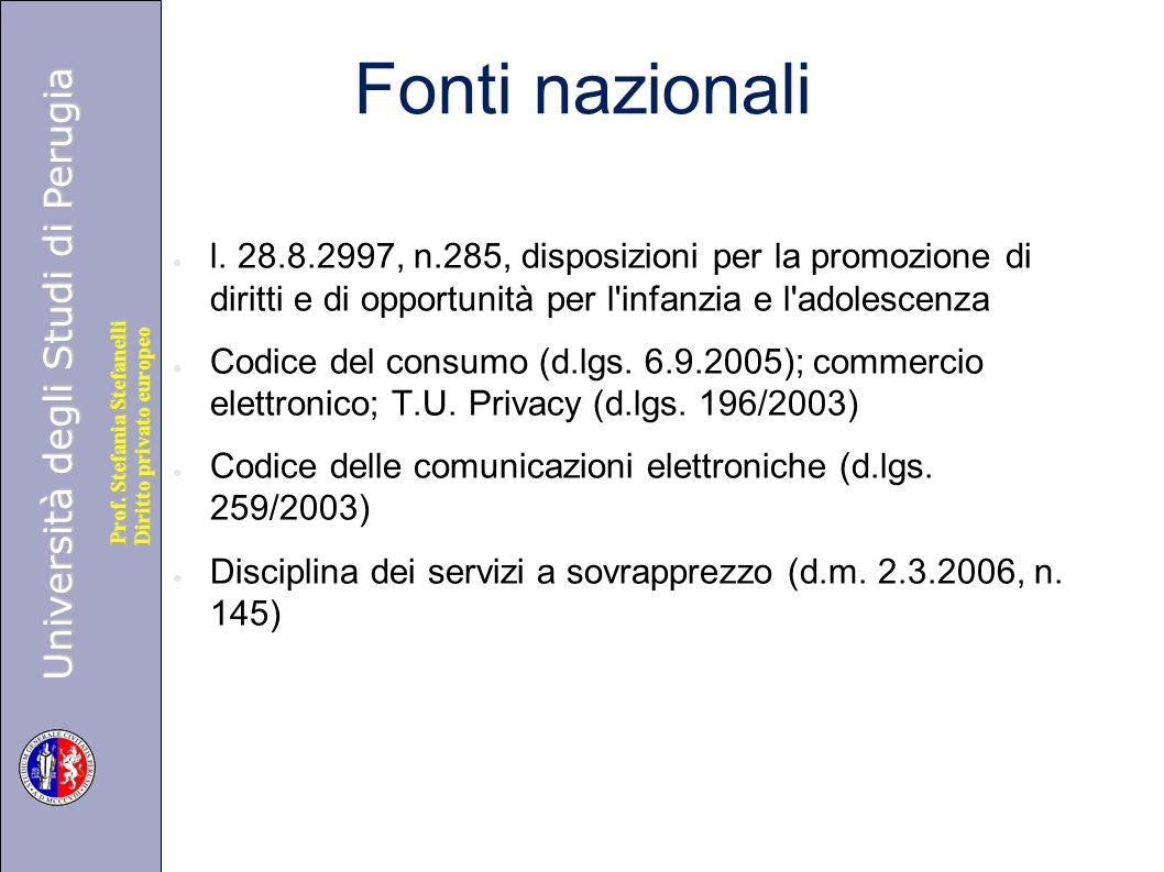 Fonti nazionali l. 28.8.2997, n.285, disposizioni per la promozione di diritti e di opportunità per l infanzia e l adolescenza.