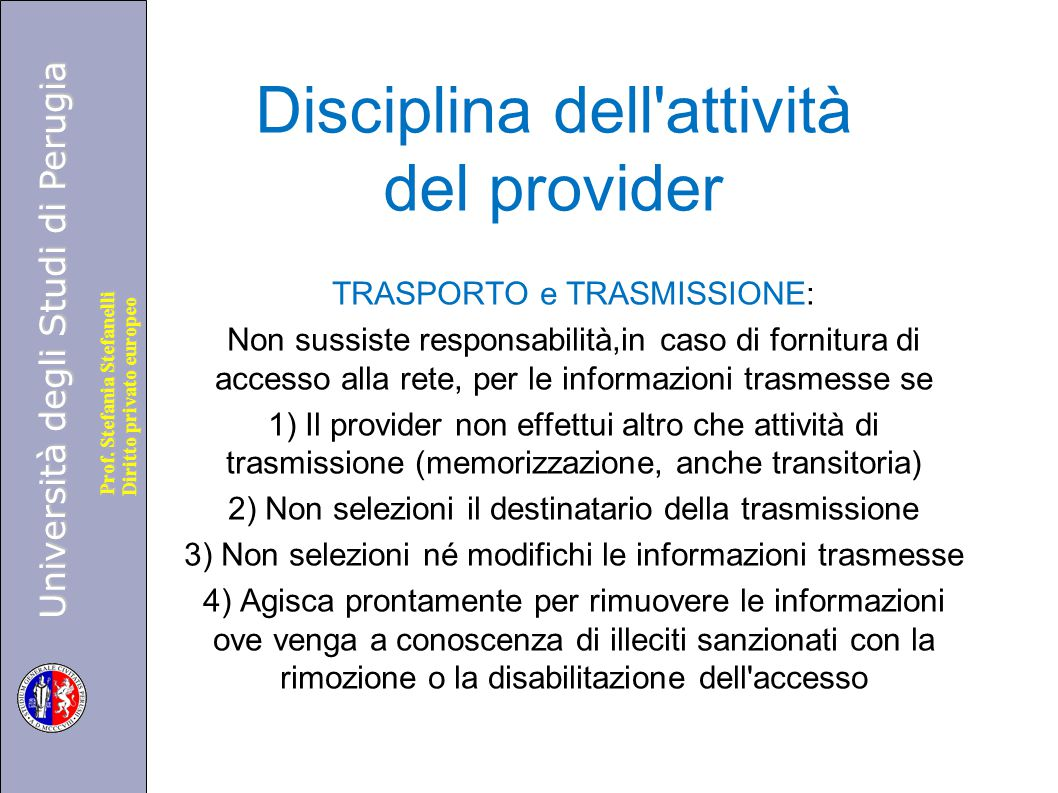 Disciplina dell attività del provider
