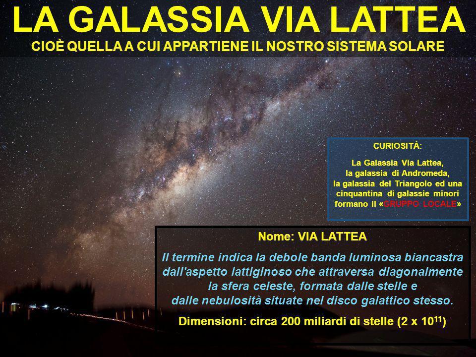 Dimensioni: circa 200 miliardi di stelle (2 x 1011)