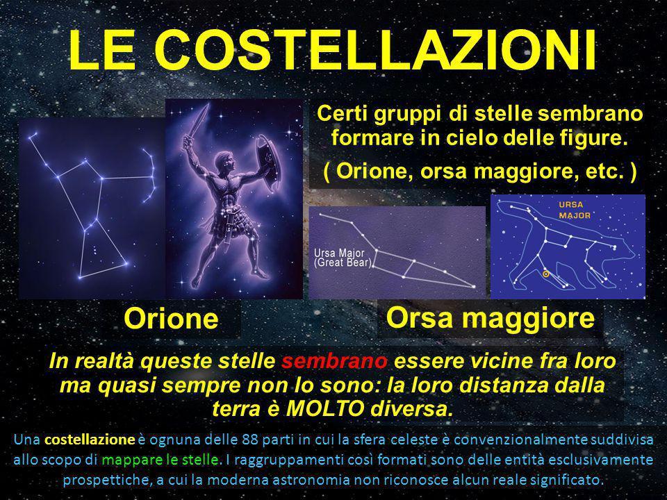 LE COSTELLAZIONI Orione Orsa maggiore