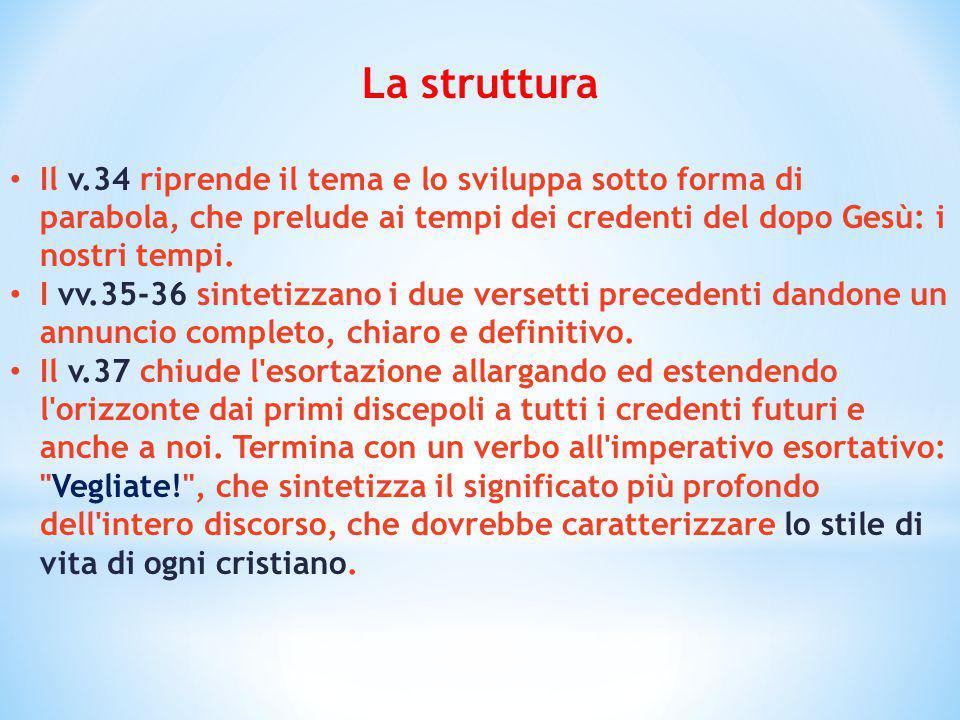 La struttura Il v.34 riprende il tema e lo sviluppa sotto forma di parabola, che prelude ai tempi dei credenti del dopo Gesù: i nostri tempi.