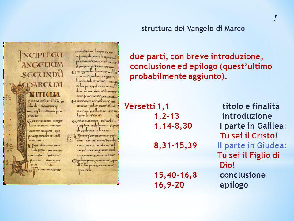 ! struttura del Vangelo di Marco. due parti, con breve introduzione, conclusione ed epilogo (quest'ultimo probabilmente aggiunto).