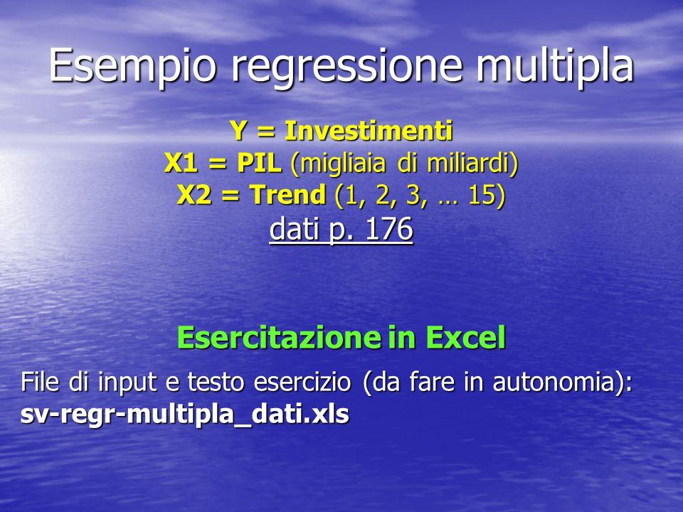 Esempio regressione multipla