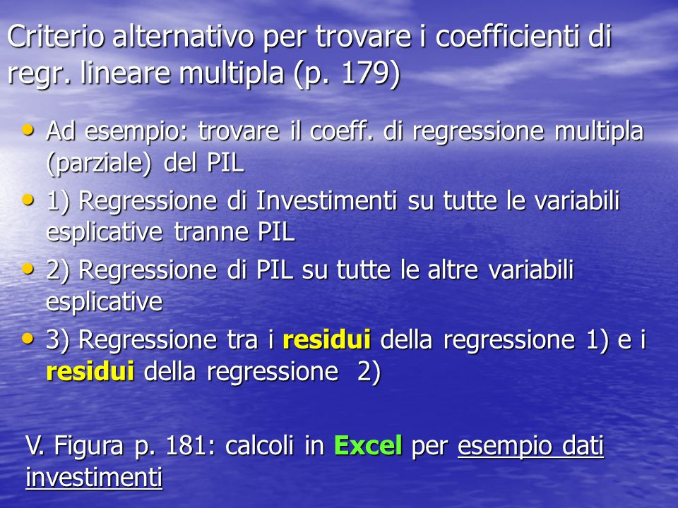 Criterio alternativo per trovare i coefficienti di regr
