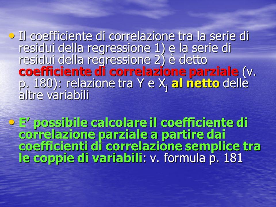 Il coefficiente di correlazione tra la serie di residui della regressione 1) e la serie di residui della regressione 2) è detto coefficiente di correlazione parziale (v. p. 180): relazione tra Y e Xj al netto delle altre variabili