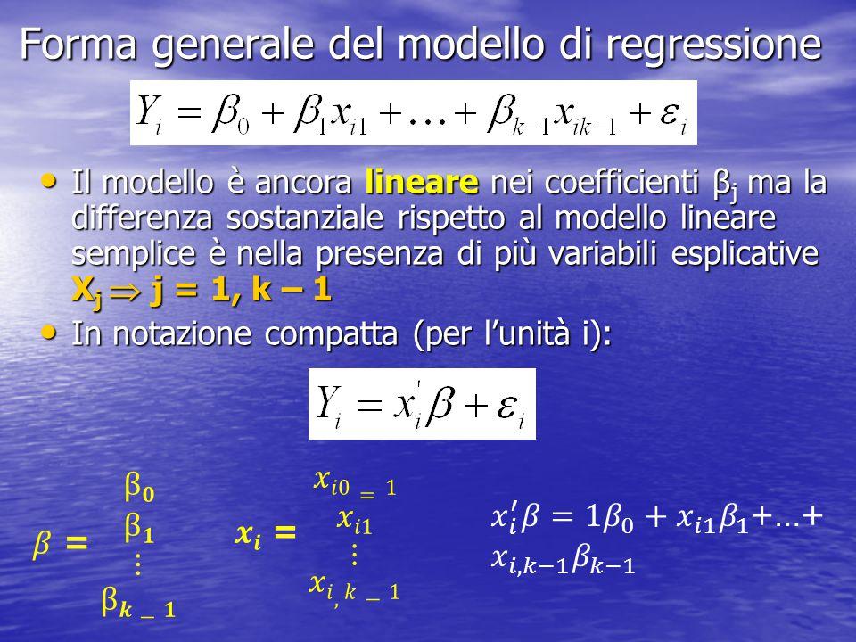 Forma generale del modello di regressione