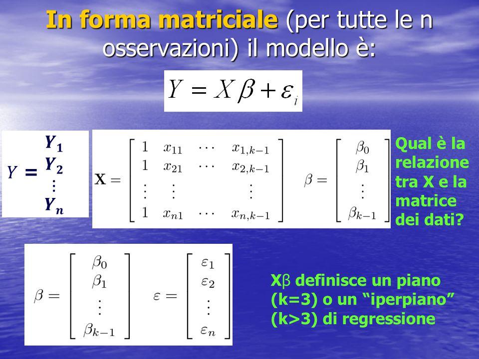 In forma matriciale (per tutte le n osservazioni) il modello è: