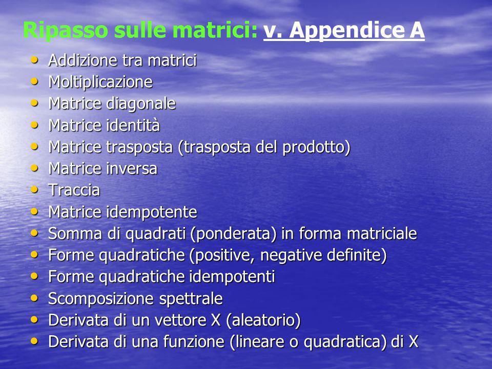 Ripasso sulle matrici: v. Appendice A