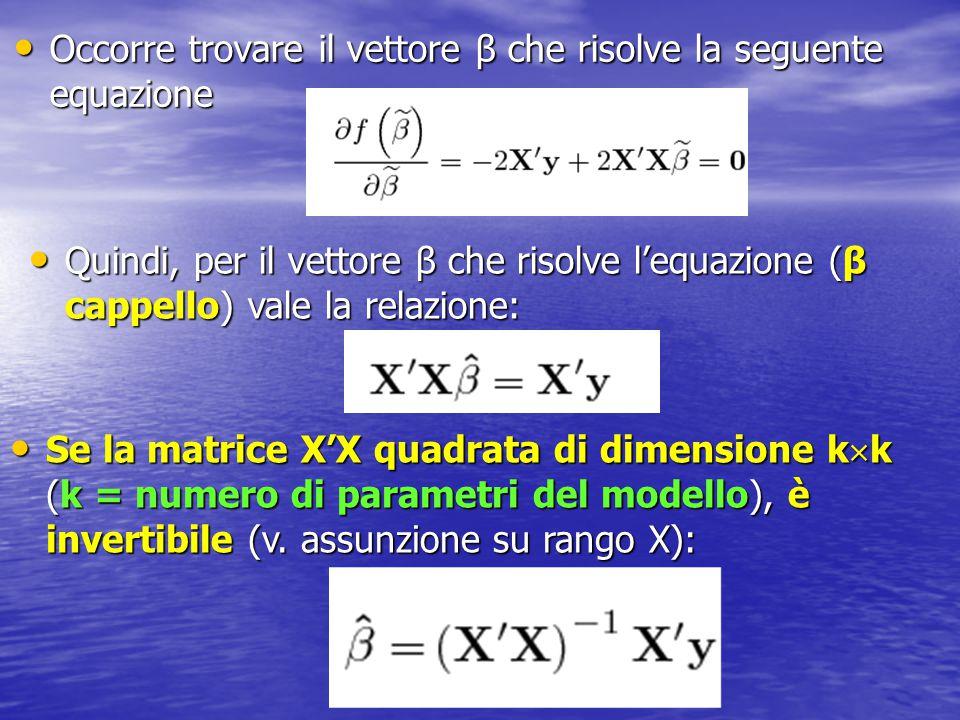 Occorre trovare il vettore β che risolve la seguente equazione