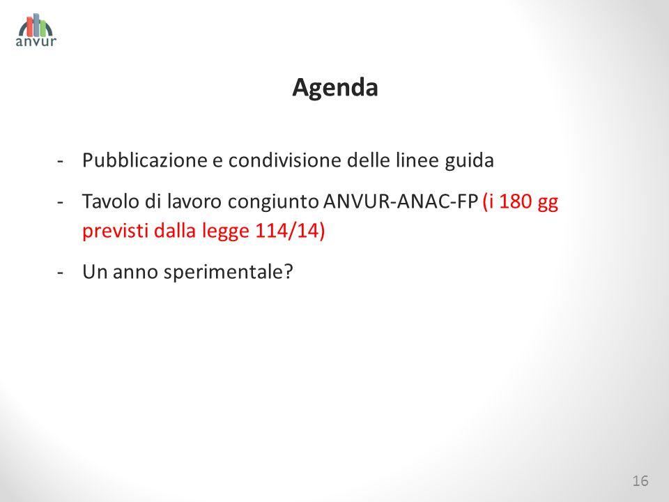 Agenda Pubblicazione e condivisione delle linee guida