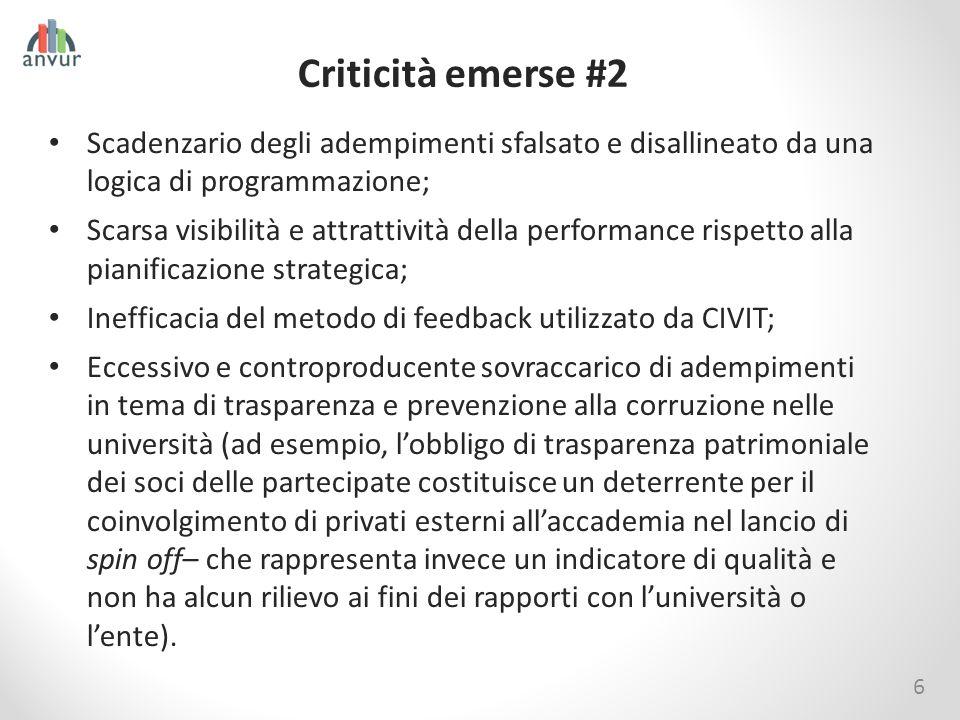 Criticità emerse #2 Scadenzario degli adempimenti sfalsato e disallineato da una logica di programmazione;