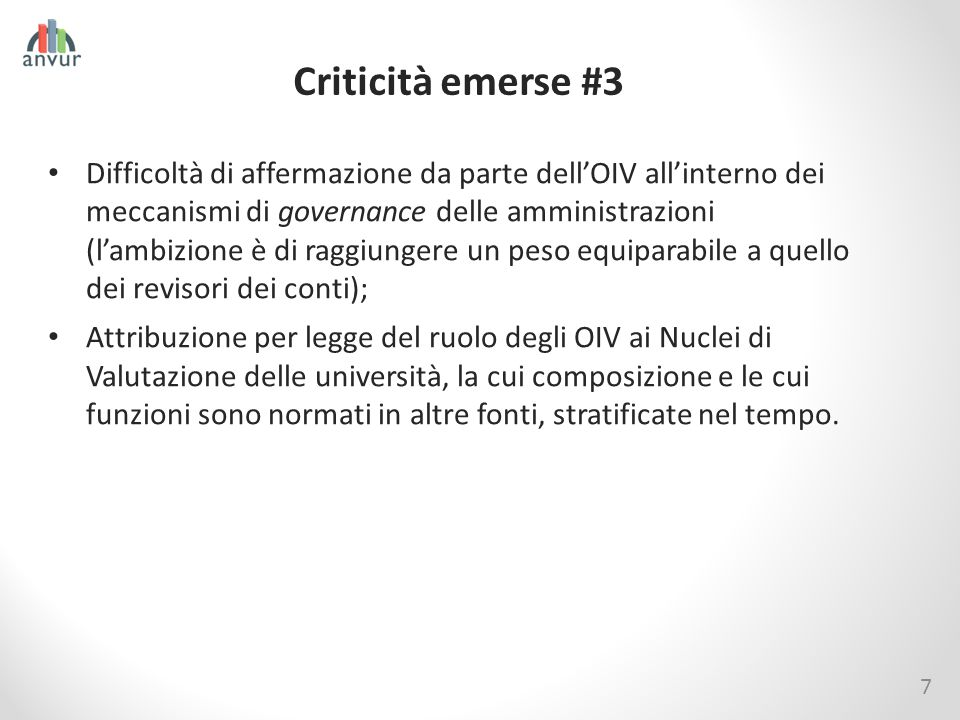 Criticità emerse #3