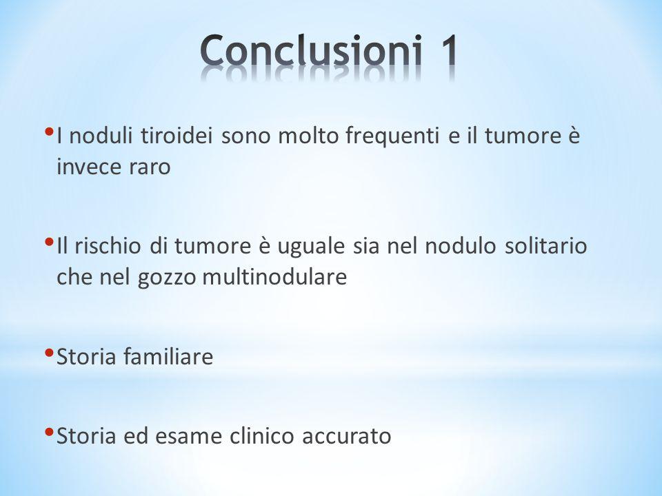 Conclusioni 1 I noduli tiroidei sono molto frequenti e il tumore è invece raro.