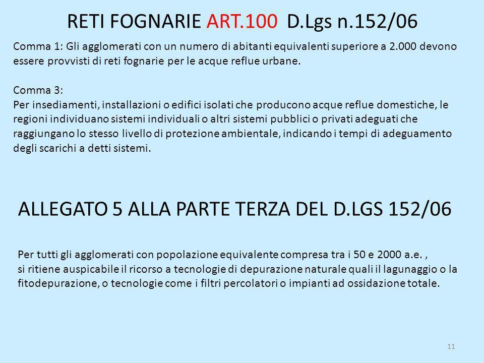RETI FOGNARIE ART.100 D.Lgs n.152/06