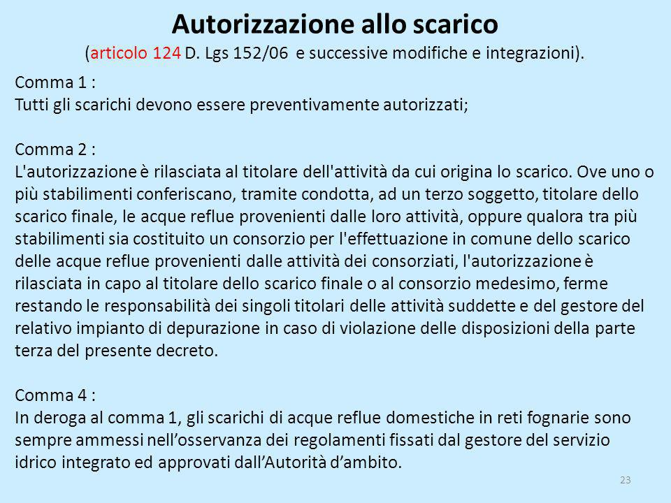 Autorizzazione allo scarico (articolo 124 D