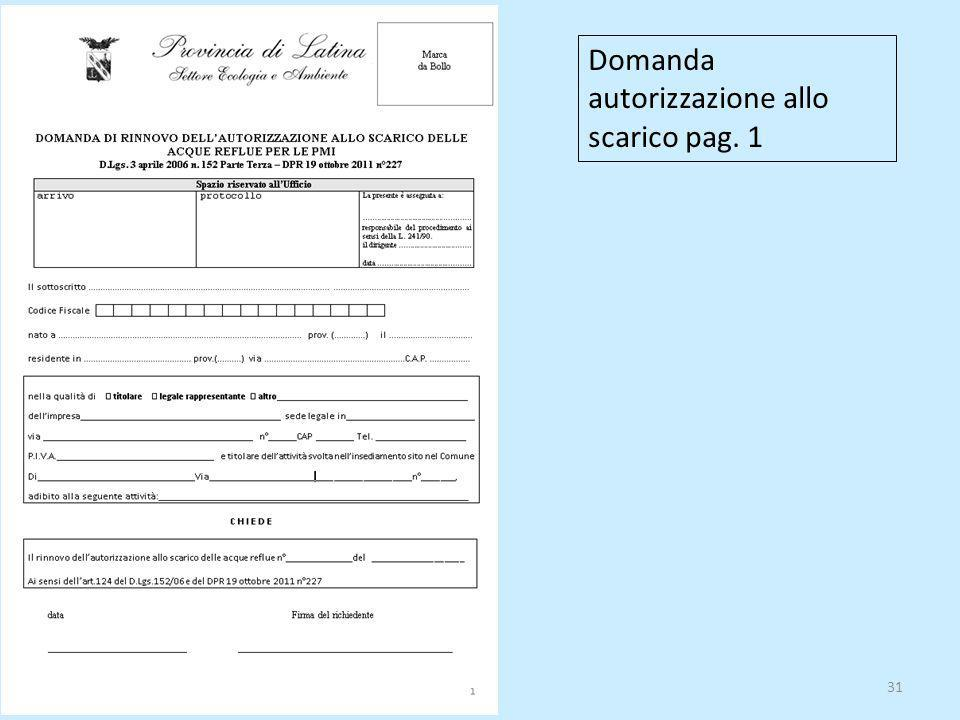 Domanda autorizzazione allo scarico pag. 1