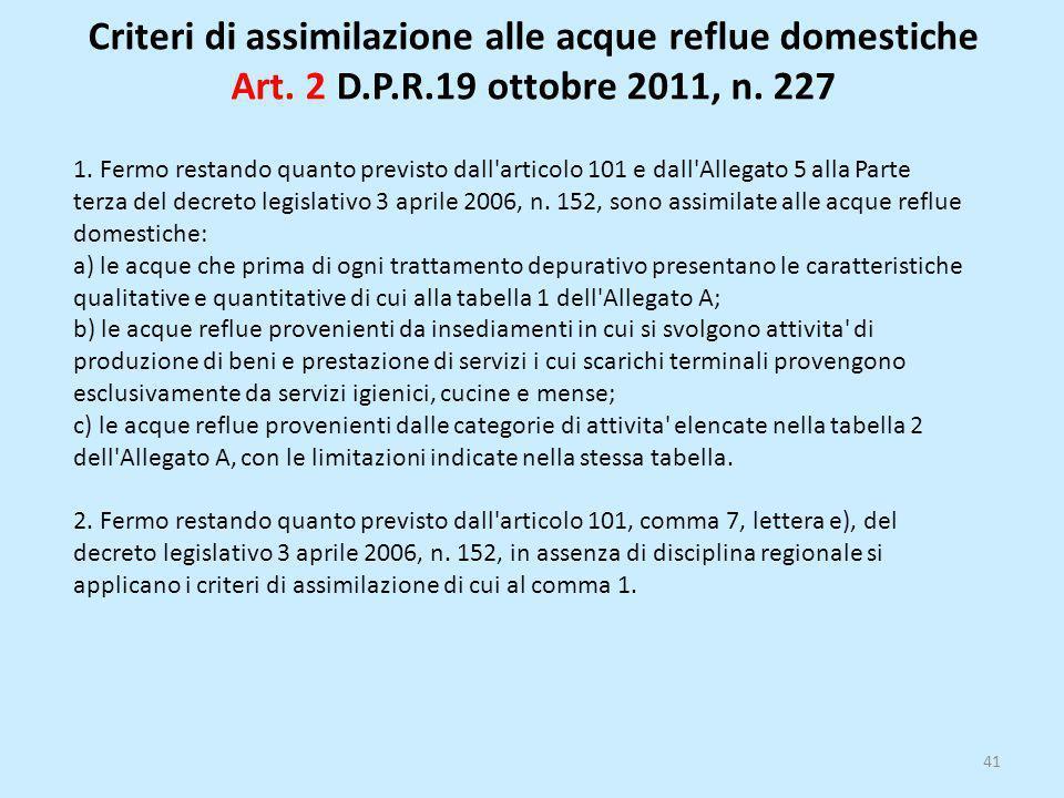 Criteri di assimilazione alle acque reflue domestiche Art. 2 D. P. R