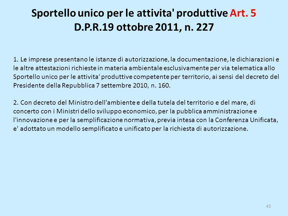 Sportello unico per le attivita produttive Art. 5 D. P. R