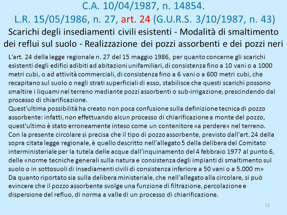 C.A. 10/04/1987, n. 14854. L.R. 15/05/1986, n. 27, art. 24 (G.U.R.S. 3/10/1987, n. 43) Scarichi degli insediamenti civili esistenti - Modalità di smaltimento dei reflui sul suolo - Realizzazione dei pozzi assorbenti e dei pozzi neri